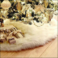 Long Plush White Snowflake Christmas Tree Skirt Base Floor Mat Cover Xmas Decor