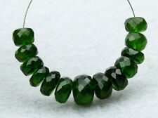 Natural Dark Green Chrome Diopside Faceted Rondelle Gemstone Beads (021005)