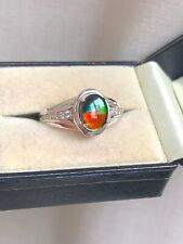 AMMOLITE RING 925 SILVER SIZE T 1/2 'CERTIFIED' GREAT COLOURS! - BNWT