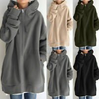 ZANZEA 8-24 Women Hooded Zip Tunic Coat Jacket Hoody Hoodie Cardigan Outerwear