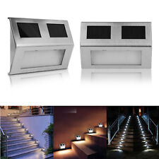 2pcs Outdoor Solar LED Stainless Steel Garden Patio Step Stair Deck Lamp Lights