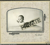 Antique Photo in Folder - Baby on Belly, Foot & Leg Up, Half Smile
