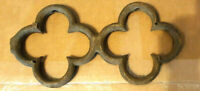 """Wrought Iron Decorative Wall Decor Architectural Salvage Clover Rusty 14 x 7"""""""