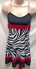 Ruby Rox Womens Juniors Sz S Spaghetti Strap Dress Black White Pink Zebra Print