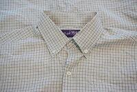 Ralph Lauren Purple Label RLPL White Black Plaid Button Up Shirt Sz L Italy
