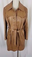 New England Sportswear Co Belted Brown Leather Jacket Car Coat Western Womens 14