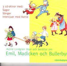 3 CD Audiolibro Astrid Lindgren svedese Emil madicken bullerbyn Michel NUOVO