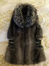 Womens Guess Fur Moto Vest grey fur Jacket Coat Size XS