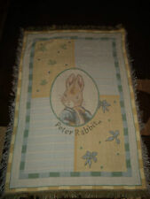 PETER RABBIT.BUNNY.WOVEN AFGHAN/THROW.36 x 50 INCHES.made in 2000