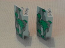 Lego Castle - 2 Grey with Green Vines Panel 3 x 3 x 6 Corner Wall (2345p01)