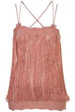 TOPSHOP fringe bow cami UK 10 in Rose - New