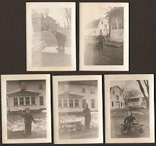 1940's COLUMBIA COASTER WAGON Boy PLAYS Snow LOT of 5 Original Snapshot Photos
