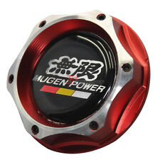 Red Chrome Car Engine Oil Filler Fuel Cap Tank Cover Aluminum & Mugen Emblem