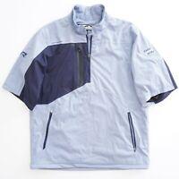 Sun Mountain Mens Rain Wear Jacket Pullover Short Sleeve Blue Polyester Medium