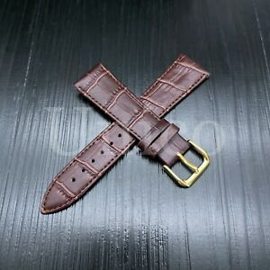 19 MM Watch Band Strap Genuine Leather Iwatch Alligator Crocodile Wrist Brown US