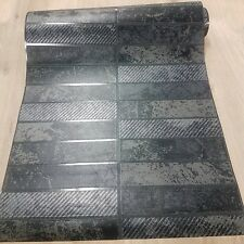 Wallpaper Kitchen Bathroom Black Dark Gray Long Narrow Tile With Glitter Stripe