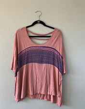 Free People oversized t shirt S high slits open back cropped boho raw hem Dolman