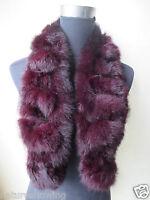 Women's Winter Warm Real Whole rabbit fur handmade scarf /cape purple red