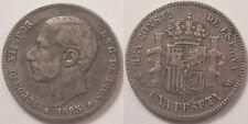 Espagne, Alfonso XII, 1 Peseta argent 1885 !!