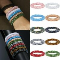Fashion Women Crystal Beaded Bracelet Multi-layer Stretchy Healing Bangle Gifts