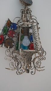 ANTIQUE SPANISH REVIVAL IRON HANGING LIGHT PENDANT IRON