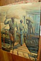 Edwin Nooleen 1889-1964 WPA Masterpiece Original Oil Painting Dock Workers ART
