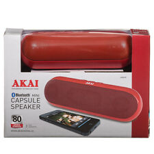 AKAI BLUETOOTH MINI Kapsel Tragbare Lautsprecher Rot Sound Musik Wireless + Spinner