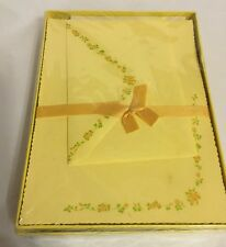 Vintage Montag Yellow Tea Rose Stationery Sealed Box 24Sheets/12 Envelopes NOS