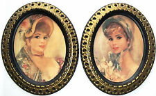 2 Vintage Pictures of 19th Century Young Women Wearing Bonnets, gilt frames