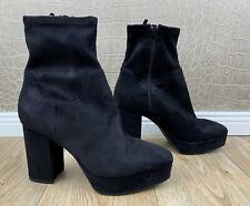 H&M Damen Gr 39 Stiefeletten Wildleder-Optik Plateau High Heels schwarz Boots Q9