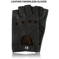 REAL LEATHER FINGERLESS GLOVES BIKER TRAINING CYCLING GYM WHEELCHAIR GLOVES NEW