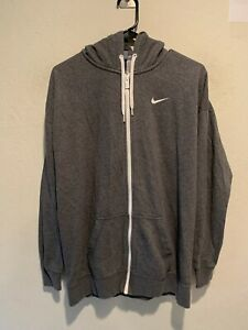 Nike Men's Mini Swoosh Full Zip Hooded Jacket Size MEDIUM Gray Sportswear VGUC