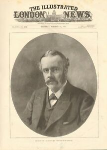 1891 ANTIQUE PRINT - PORTRAIT - RIGHT HON A J BALFOUR, FIRST LORD OF TREASURY