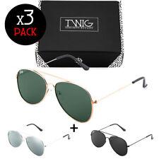 Trois lunettes de soleil TWIG Pack FLAT miroir homme/femme vintage aviateur