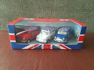 Die cast Mini coopers x 3 Red/White/Blue with union jack roofs, Pull back action