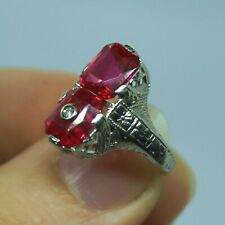Art Deco Vintage 14k White Gold Double Stacked Red Ruby Diamond Pierced Ring