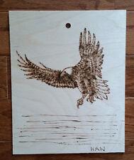 Bald Eagle, Bird, Wildlife, Original Wood Burn Drawing on Wood, Signed, Art Deco