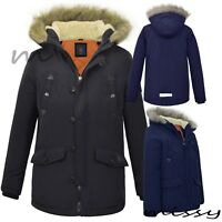 NEW BOYS WINTER PARKA COAT JACKET FUR TRIM HOOD MILITARY SCHOOL PADDED WARM NOEL