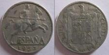 ESPAÑA - FRANCISCO FRANCO - RARA MONETA DA 10 CENTIMOS - 1953