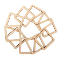 10Pc 60mm Blank Unfinished Wood Hollow Square Wooden Scrapbook Embellishment