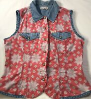 Guess Vintage Western Denim Style Red Sleeveless Paisley Top Sz L