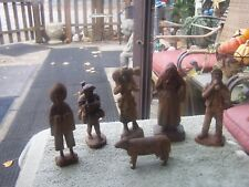 Anri Wood Carved Figures lot of 7 see pictures