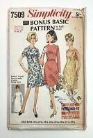 """1960's Vintage Pattern Simplicity 7509 Basic Dress Half Size 14 1/2"""" Bust 37"""""""