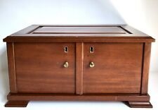 """Jewelry Box Storage Chest 16"""" Drawers Vtg Solid Wood Armoire Doors High Quality"""