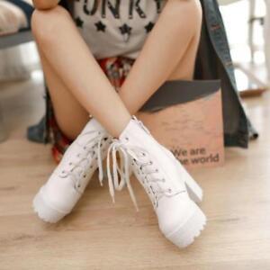 Women Punk Ankle Boots Combat Lace up Block High heel Rivet Shoes Heels New