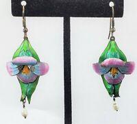 Vintage ENAMEL LILY with Natural Pearls Pierced Dangle Earrings Flowers