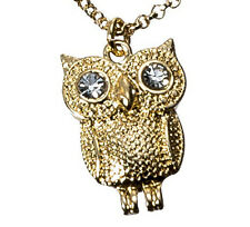 Gold Crystal Eyed Owl Short Necklace With Gift Box