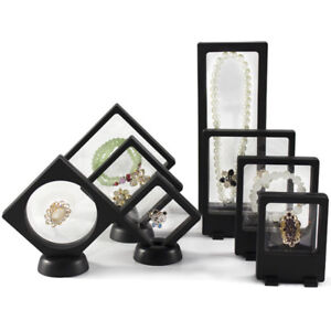 Floating View Jewelry Display Stand Frame Holder Ring Necklace OrganizerBox Case
