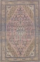 Vintage Geometric Hamedan Muted Hand-knotted Area Rug Wool Oriental 7'x9' Carpet