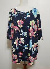Koret Womens 2X Navy Blue Floral Short Sleeve Shirt Blouse Flowers PLUS Scoop